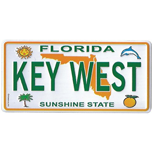 magnet KEY WEST, FLORIDA - Souvenir License Plate Metal Fridge CAR REPLICA Collector's Magnet - 2