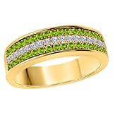 DreamJewels 6MM 14K Yellow Gold FN Alloy 0.50CT Green Peridot & White Cz Diamond Ring 3 Row Pave Men's Hip Hop Anniversary Wedding Band Ring Size All Available