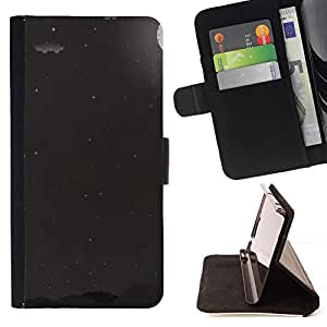 Momo Phone Case / Flip Funda de Cuero Case Cover - Luna de la noche Estrellas del cielo Minimalista Negro Blanco - Samsung Galaxy E5 E500