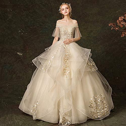 Vestido de novia de la palabra palabra hombro escote manga de trompeta apliques de encaje vestido de novia vestido de gala...
