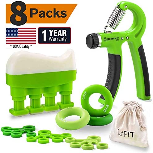 Hand Grip Strengthener 8-Pack Workout Kit, Adjustable Resistance Hand Exerciser, Wrist Strengthener, Finger Stretcher, Forearm Grip Ring, Improve Dexterity, Speed Up Recovery, Relive Stress Anxiety