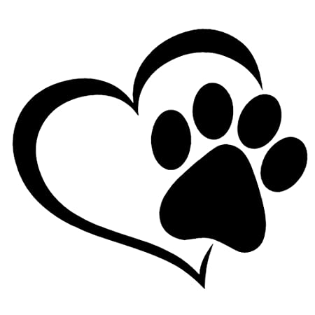 runakan pet paw print with heart dog cat vinyl decal car window rh amazon co uk Cool Dog Clip Art Dog Paw Print Logo