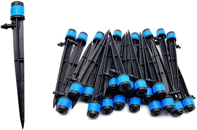 100PCS Drip Emitters Sprayer With Adjustable Vortex Fan Sprayer For 1/4 Inch Irrigation Tube Hose, 360 Degree Dripper For Irrigation System Watering Kits For Garden Patio Lawn Flower Bed (13cm)