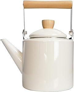 Pengrui Enamel Kettle Thicken Retro Stovetop Whistling Induction Cooker Natural Gas Household Commercial Restaurant teapot,White
