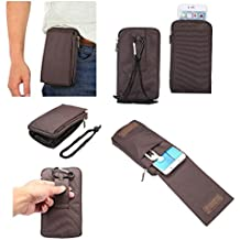 DFV mobile - Multi-functional Universal Vertical Stripes Pouch Bag Case Zipper Closing Carabiner for => CHERRY MOBILE COSMOS ONE PLUS (2015) > Brown XXM (18 x 10 cm)