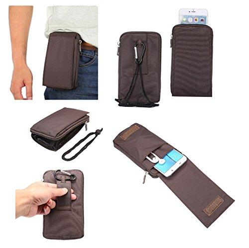 DFV mobile - Multi-Functional Universal Vertical Stripes Pouch Bag Case Zipper Closing Carabiner for => Pharos Traveler 600 / 600E GPS Phone > Brown XXM (18 x 10 ()