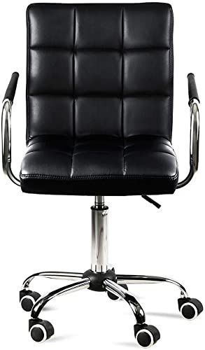 YAHEETECH Black Faux Leather Computer Desk Chairs Home Office Swivle Chair Gas Lift Chrome Base On Wheel