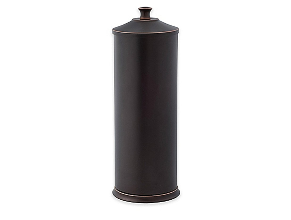 Toilet Paper Reserve Holder with Lid in Two-Tone Oil Rubbed Bronze by: Alumiluxe