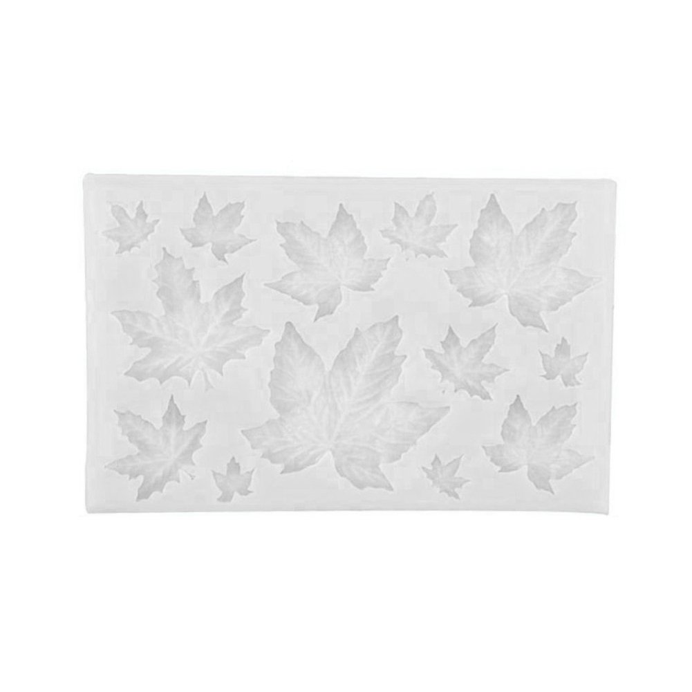 Kitchen Chocolate Sugarcraft Silicone Fondant Mold Cake Decor Maple Leaves Mould - Grey White
