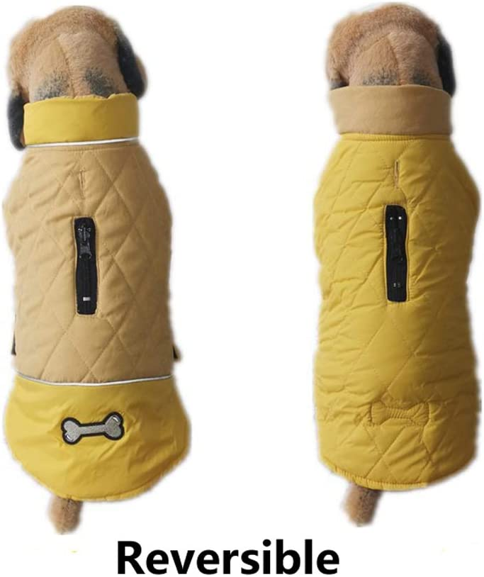 5 Colors 7 Sizes for Small Medium Large Dogs Water-Resistant Windproof Snowsuit Cold Weather Pets Cloth Rantow Reflective Dog Coat Winter Vest Reversible Loft Jacket XL, Yellow