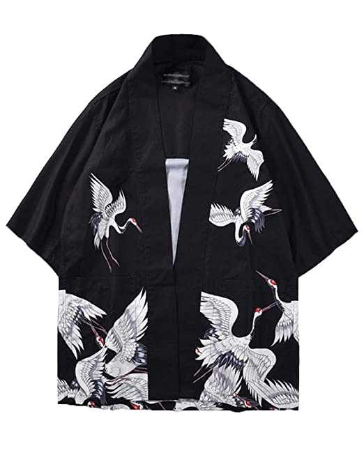 08f3ba9be Kimono Japonés Hombre Robe Coat Manga 3/4 Vintage Cloak Loose Fit Short  Jacket Cardigan