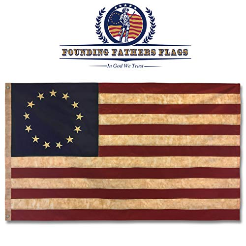 Founding Fathers Flags Betsy Ross Vintage Embroidered Flag - 3x5ft Premium Oxford -