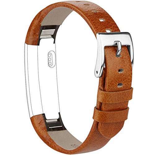 Vancle Compatible with for Fitbit Alta Bands Leather, Adjustable Replacement Accessories Fitbit Alta HR Bands for Women Men (8. Orange ()