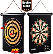 Rollup Magnetic Dart Board for Kids and Adults with 6pcs Safe Darts, Best Toys Gift for Age 6 7 8 9 10 11 12 Y