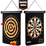 rollup magnetic dart board for kids and adults with 6pcs safe darts, best toys gift for age 4 5 6 7
