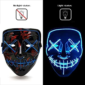 Ansee Scary Mask Halloween Cosplay Led Costume Mask El Wire Light Up Mask for Festival Parties (Scary Mask Blue)