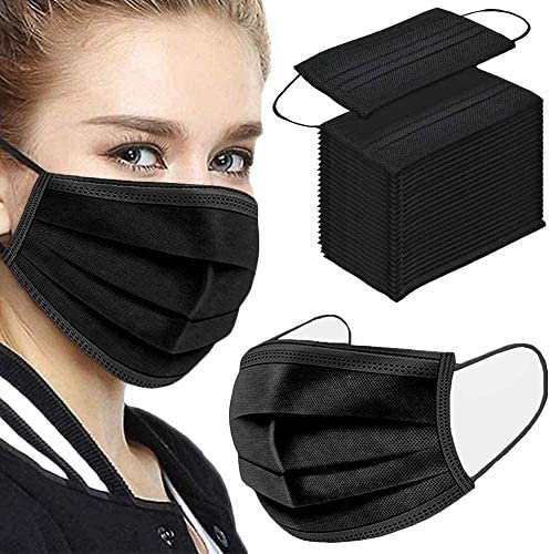 50Pcs Disposable Face Masks, 3-ply Disposable Masks Black Face Mask with Elastic Ear Loop, Black Masks Breathable Non-woven Masks, Fashion Face Covering for house, administrative center, outside