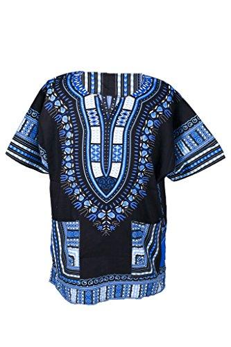 Lofbaz Traditional African Print Unisex Dashiki Size L Black (70s Men Clothes)