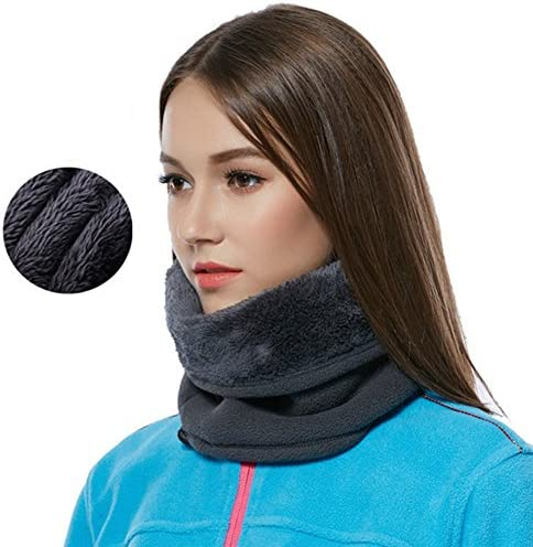 LUUFAN Schal Nackenwärmer Thermo Fleece Gesichtsmaske Beanie Hut für Snowboard Radfahren Motorrad (Grey 1)