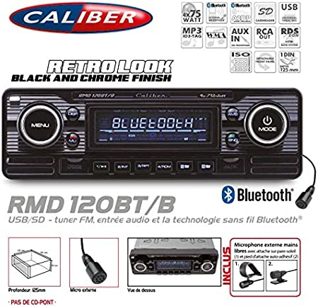 Autoradio Vintage Caliber Look Retro Black USB/SD (senza CD-Pont