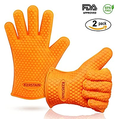 BBQ Grill Gloves Silicone Extreme Heat Resistant Protection for Barbecue, Baking, Oven, Microwave, Frying, Freezer, Kitchen 1 Pair (2pc) One Size (Orange) FDA Approved