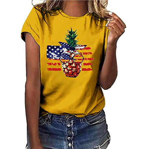 (〓COOlCCI〓Summer Woman T Shirt Street Style Pineapple Printed Short Sleeve T-Shirt Casual Loose Lady Tops Juniors Tees Yellow)