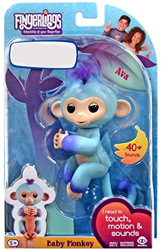 2 Silly Monkeys (WowWee Fingerlings Interactive Baby Monkey Puppet AVA 2 Tone Blue to Purple)
