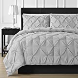 Double Needle Durable Stitching Comfy Bedding 3-piece Pinch Pleat Comforter Set All Season Pintuck Style (California King, Light Grey)