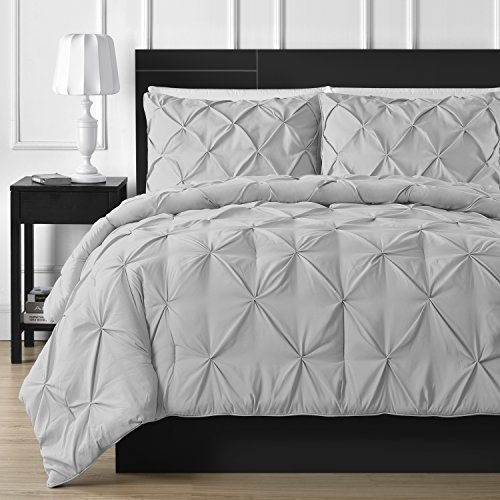 Comfy Bedding Double Needle Durable Stitching 3-Piece Pinch Pleat Comforter Set All Season Pintuck Style, King, Light Grey (Grey King Comforter)
