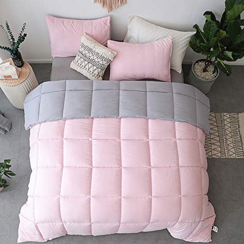 KASENTEX All All Season Down Down Alternative Quilted Comforter Set with Sham(s) - Reversible Ultra Soft Duvet Insert Hypoallergenic Machine Washable, Pink Potpourri/Quartz Silver by KASENTEX (Image #7)
