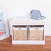 Pleasant Btm 2 Seater Wooden Storage Bench Seagrass Wicker Storage Baskets In White 2 Drawers Cabinet Farmhouse Ocoug Best Dining Table And Chair Ideas Images Ocougorg