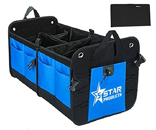 5 Star Seat - 5-Star-Products Car Trunk Storage Organizer Mobile Back Seat Cargo Crate for SUV Truck Auto Soccer Sports Mom | Portable Collapsible Multi Compartment with Bonus Glove Box Wallet