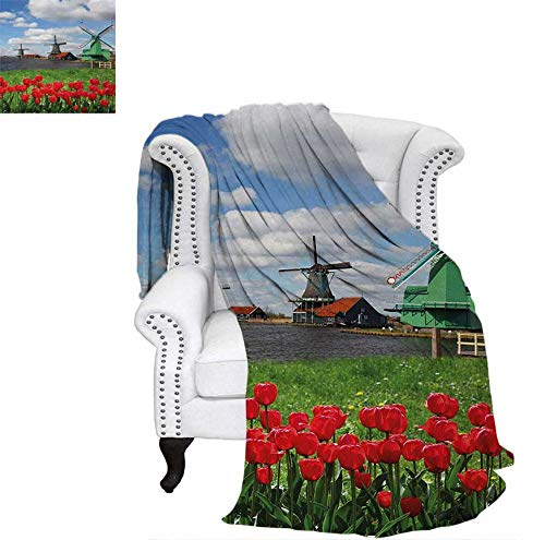 (Custom Design Cozy Flannel Blanket Traditional Dutch Windmills with Red Tulips in Amsterdam Scenic Field Riverscape Lightweight Blanket 70