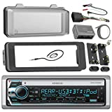 Kenwood Marine Radio Stereo Receiver Bundle, 1998 2013 Harley Davidson Touring Flht Flhx Flhtc, Adapter Dash Kit With Handle Bar Control Module, Weathershield Cover, Enrock Wire Antenna