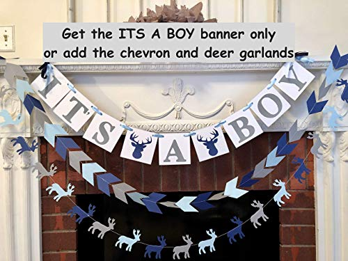Little Buck Baby Shower Decorations - Blue and Gray Oh Deer Baby Shower - Its a Boy banner- Woodland Deer baby shower - Little Buck Banner