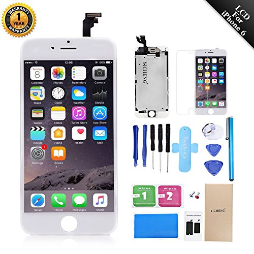 Full Assembly LCD Display Touch Screen Digitizer Replacement Compatibal For iPhone 6 4.7 Inch Repair Kit With Open Tools (6G White) (Speaker Assembly Stereo)