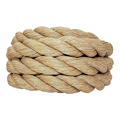 SGT KNOTS ProManila Rope (1 1/2 inch) UnManila Tan Twisted 3 Strand Polypropylene Cord - Moisture, UV, and Chemical Resistant - Marine, DIY Projects, Crafts, Commercial, Indoor/Outdoor (200 ft)