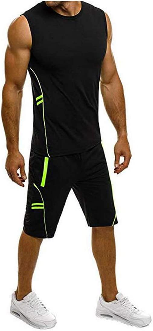 Loose Fit Shorts Casual Sports Two-Piece Quick-Dry Outfits for Workout Training Running Deyiis Mens Fitness Gym Clothing Set Sleeveless Slim Fit Vest Tank Tops