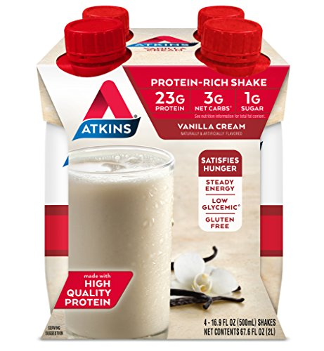 Meal Vanilla Cream (Atkins Ready to Drink Meal-Sized Protein-Rich Shake, Vanilla Cream, 4 Count (Pack of 3))