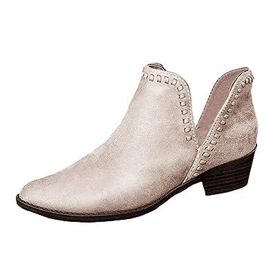 da568725c6ec0c Minetom Femme Bottines PU Cuir Chaussure Bottes Plats Bloc Talons Ankle  Boots L'Automne Mode Casual Chelsea Boots Bootie: Amazon.fr: Chaussures et  Sacs