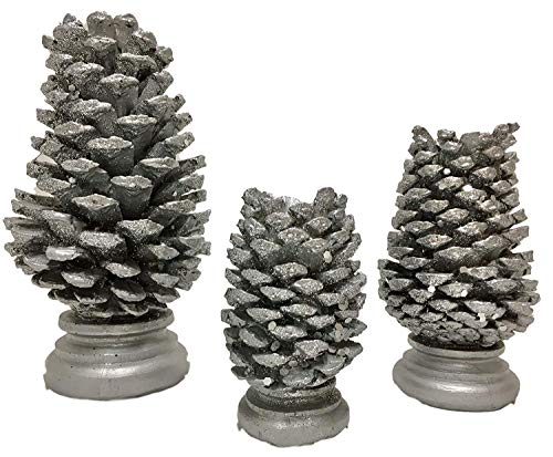 OW 3-Piece Resin Pinecone Candle Holders - Home Décor, Holiday Decoration Candleholder Bundle (Silver)