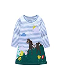 DXTON Toddler Girl Animal Stripe Cotton Dress Baby Girls Casual Dresses
