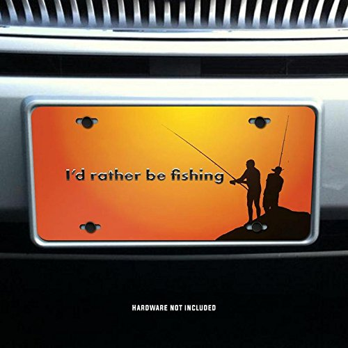 Id Rather Be Fishing Orange Vanity Front License Plate Tag Printed Full Color KCFP041