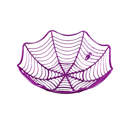 (NiceWave Spider Web Fruit Plate Halloween Decoration Creative Cookies Candy Fruit Candy Basket Bowl Halloween Party Decoration)