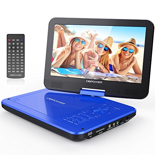 DBPOWER 10.5' Portable DVD Player with Swivel Screen, 4 Hours Rechargeable Battery, SD Card Slot and USB Port - Blue