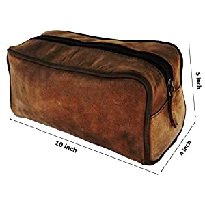 AOL Handmade Buffalo Genuine Leather Toiletry Bag Dopp Kit Shaving And Grooming Kit For Travel - Gift For Men Women - Hanging Zippered Makeup Bathroom Cosmetic Pouch Case Brown