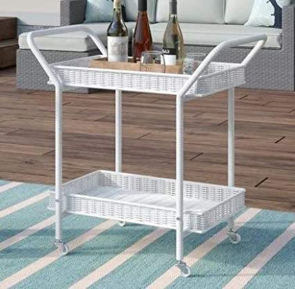 Amazon.com - Etha- White Resin Wicker Two Shelves-Serving Carts On ...