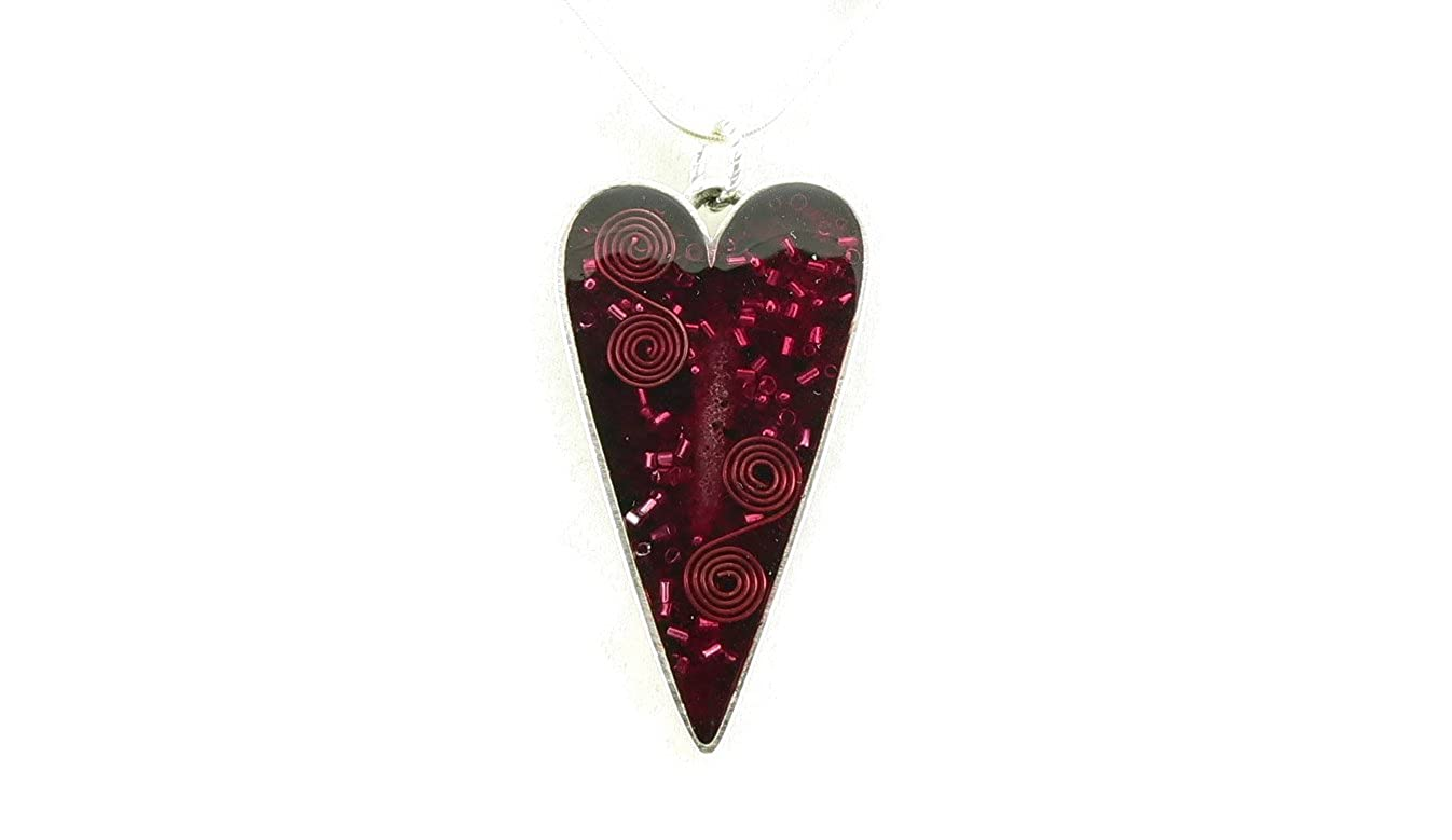 Orgone Energy Large Heart Pendant Necklace in Antique Silver Finish with Garnet