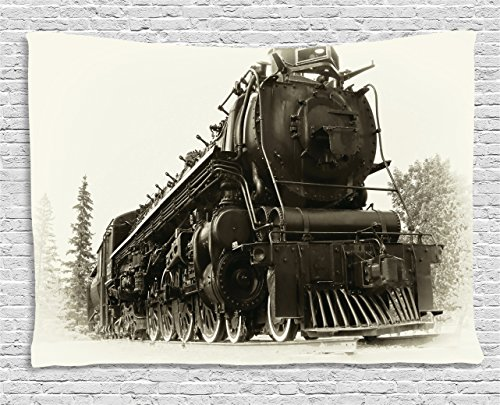 Steam Engine Tapestry Wall Hanging by Ambesonne, Antique Northren Express Train Canada Railways Photography Freight Machine Print, Bedroom Living Room Dorm Decor, 80 W X 60 L Inches, Tan Dark Taupe