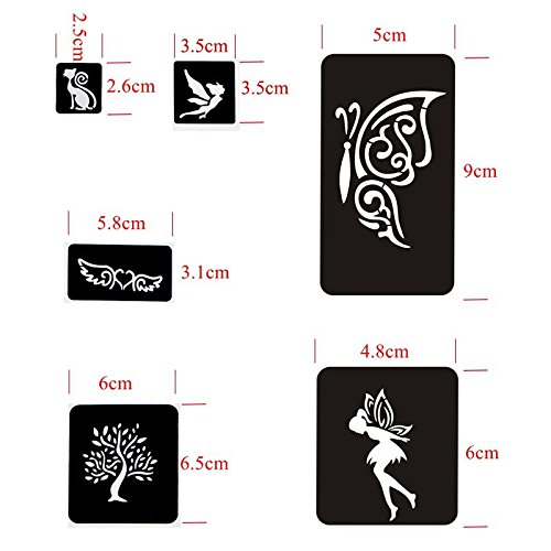 20 Sheet (446 Pieces) Airbrush Tattoo Stencils Album Art Book,Small Glitter Tattoo Template for Body Painting by xmasir (Image #2)